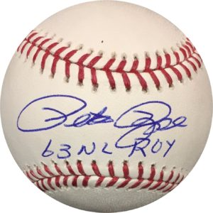 "Pete Rose Autographed Baseball Reds ""63 ROY"" OMLB JSA Authentic"