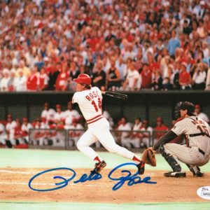 Pete Rose Autographed 8×10 Photo – Record Breaking Hit
