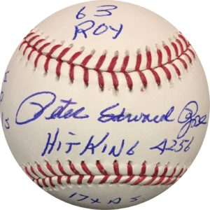Pete Rose Autographed Baseball MLB STATS OMLB JSA Authentic