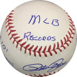 Pete Rose Autographed Baseball MLB RECORDS OMLB JSA Authentic