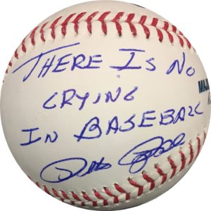 "Pete Rose Autographed Baseball ""There Is No Crying In Baseball"" OMLB Pete Rose Authentication"