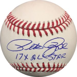 "Pete Rose Autographed Baseball Reds ""17x AS"" OMLB Pete Rose Authentication"