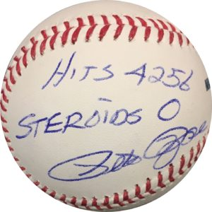 Pete Rose Hits 4256 Steroids 0 Autographed Baseball OMLB Pete Rose Authentication